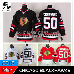 Wholesale New In Chicago black hawk cheap hockey jersey Crawford authentic Red white black hockey clothing
