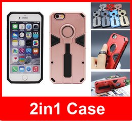 Wholesale 7 colors hybrid kickstank case cover in1 shockproof case with ring robot case for iphone s splus