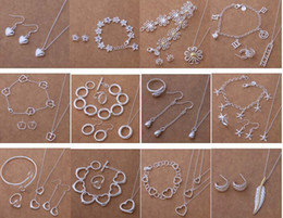 Free Shipping with tracking number New Fashion women's charming jewelry 925 silver 12 mix jewelry set 1457