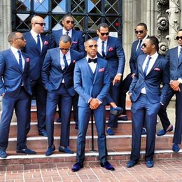 Wholesale Custom Made Two Button Slim Fit Groom Tuxedos Peaked Label Bestman Navy Wedding Suits Three piece Designer Bridegroom Jacket Pants Tie