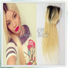 Livraison gratuite Brésilienne Deux tons # 1b # 613 Ombre Free Lace Closur cheveux humains non transformés 4 * 4 pouces Lace Closure blanchi noeuds droit à partir de 12 pouces cheveux humains deux tons fournisseurs