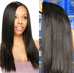 Factory Wholesale 6A Virgin Human Hair yaki Wave Hair Weft Brazilian Hair Bundles Peruvian Malaysian Indian Hair 3pc lot dhl Free Shipping