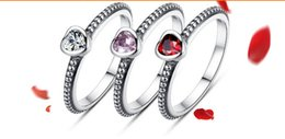 Wholesale Love antique silver silver rhinestone classic ancient silver ring Pandora Silver Ring fashion jelwery hot sale bamoer pandora series