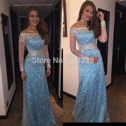 2017 Luxury Evening Dresses Crystal Beaded With Long Sleeve Prom Gowns Sheath Party Dress Floor Length Light Blue Prom Dresses