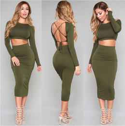 Wholesale TOB New Women Two Piece Outfits Sexy Backless Piece Set Slash neck Bodycon Bandage Dress Casual Club Party Knee Length Dress