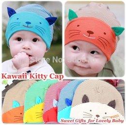 Wholesale 2014 New Kawaii stripe Kitty beanies Baby Cotton caps Infant children Boys Girls Skull hats colors