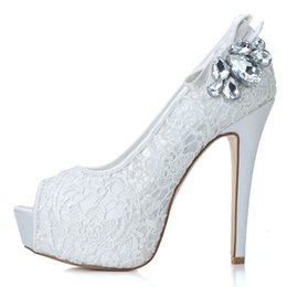 Wholesale Cheap Open Toed Heels - 2015 New Cheap Lace Open Peep Toe Wedding Shoes Rhinestone with Pumps Heel Crystal Wedding Party Dress Bridesmaid Shoes 3128-19