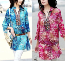 New 2016 Spring And Summer Women Chiffon Embroidery Print Casual Dress Red   Blue.Size. M.L.XL.XXL.3XL.4XL Gift Belt