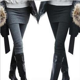 Wholesale Sexiest Leggings Skirt - Autumn Winter Women's Pants With Mini Faux Skirt Warm False Two Pieces Leggings Sexy Slim Fit Stretch Leggings frozen leggings
