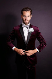 Handsome One Button Dark Red Velvet Groom Tuxedos Notch Lapel Groomsmen Best Man Mens Weddings Prom Suits (Jacket+Pants+Tie)