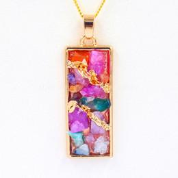 2016 New Natural Gem Stone Rectangle Mix Stone Quartz Pendant Charms Healing Reiki Amulet Fashion Jewelry Family Lovers Gift 10pcs