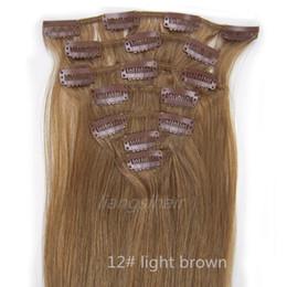 Wholesale Clip dans les extensions de cheveux humains Factory Grade A inch g Light Brown Nouveaux Cheveux Humains Péruviens Malaisiens