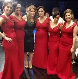 Hot Red Bridesmaid Dresses 2015 V neck Lace Top Mermaid Long Satin Fashion Bridesmaid Formal Wear Custom made
