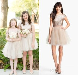 2016 Rose Gold Sequins Jewel Short Sleeves Cheap Pageant Flower Girls Gowns for Kids Knee Length Bling Cheap Junior Bridesmaid Dresses