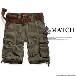 Wholesale Matchstick Short Men Cargo Cotton Khaki color Big Size S3612