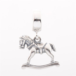 Fits Pandora Charms Bracelet 100% 925 Sterling Silver DIY Beads Rocking Horse Charm Women sterling-silver-jewelry Free Shipping