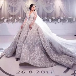 Luxury Charming Silver Wedding Dresses 2018 New Arrival Sheer Neck Plunging V Neck A Line Full Lace Appliques Long Sleeves Bridal Gowns