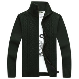 Wholesale-Cheap Good Quality Men Sweaters Fashion Zipper Grey Green Men's Cardigans Large Size M-XXXL Knitted Jackets Coats