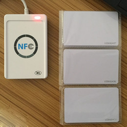 Wholesale USB ACR122U NFC RFID Smart Card Reader Writer For All Types of NFC ISO IEC18092 Tags Access Control MHz ACR Free IC White