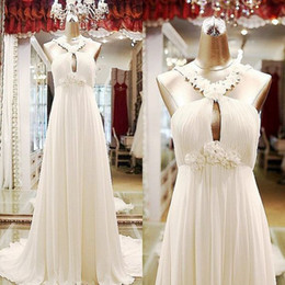Real Wedding Dresses Halter Flowers Featured A line Pleats Chiffon Bridal Gowns Backless New Chapel Wedding Gowns