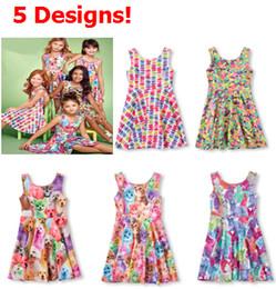 Wholesale 2016 CHOOSE SIZES Girl Girls Summer Dress childrens Kids Animal Dog Rabbit Cat Candy Cookies Jelly Bean Macaron printing Dresses