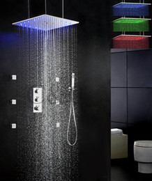 Wholesale Thermostatic Bath Shower Faucet Set Inch Swash And Rainfall LED Temperature Sensitive Shower Head QL F