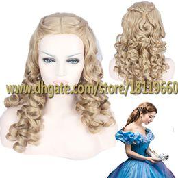 Wholesale 2015 Newest Cinderella Adult Beautiful Hair Wigs Midsplit Bangs Long Natural Wave Hairstyle Heat Resistant Cosplay Wig with Braids