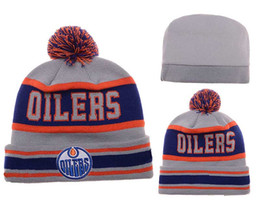Wholesale Ice Hockey Edmonton Pom Pom Knit Adjustable Hats Sport Beanies For Men Women Knits Hat Skullies Warm Winter Hats Oilers Pom Beanies