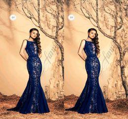 robe de soiree Royal Blue Mermaid Evening Dresses 2018 Lace Appliques Lace Formal Evening Gowns Fashionable Party dresses vestidos