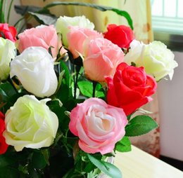 Wholesale New Wedding Party Christmas Artificial Fabric Craft Real Touch Latex Decorative Silk Flowers Rose Rom Decoration