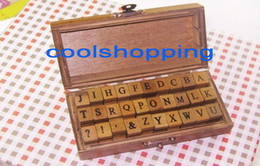 DHL 50sets Free shipping, 30pcs set, Creative Lowercase & Uppercase Alphabet wood rubber stamps set, Wooden box