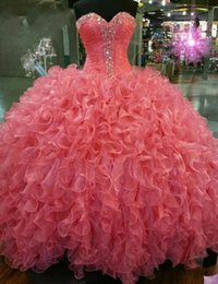 Cheap Long Quinceanera Dresses Crystal Rhinestone Ball Gown Prom Dress Celebrity Pageant Dress Formal Cocktail Party Dresses Wholesale