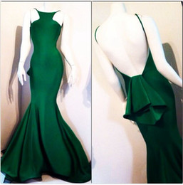 New Arrival Backless Prom Dresses Spaghetti Straps Long Length Mermaid Spandex Ruffles Tiered Evening Party Prom Dress Free Shipping