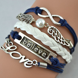 Wholesale Infinity Believe Hunger Games Anchor Wing Love Jesus Owl Multilayer Pattern Leather Bracelet