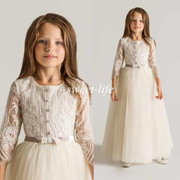 Latest Crew Lace Tulle Flower Girls Dresses For Wedding Long Sleeves Appliques Ruched 2019 New First Communion Kids Gowns Cheap Top Quality