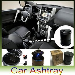 Wholesale New Portable Car Auto Blue LED Light Smokeless Ashtray Cigarette Holder Retail box DHL