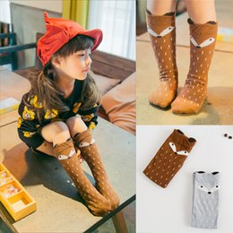 2016 new children cotton fox socks stockings baby fox leg warmers girls animal footwear leggings socks 74color