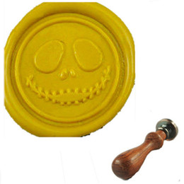 Vintage Halloween Skull Smile Wax Seal Stamp With Rosewood Handle for Wedding Invitation