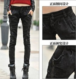 Wholesale New Product ladies handsome Slim stretch trousers worn washed denim trousers zipper pencil pants feet women jeans