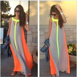 Wholesale 2016 Hot Selling Casual Dresses Bright Color Patchwork Sleeveless Sundress Big Skirt Loose Long Dress Cheap Women Maxi Dresses