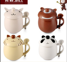 South Korea 12:00 twelve clock fashion lovers ceramic cup with cover with spoon cute cartoon Mug Cup drinking water bottle