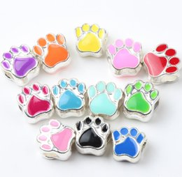 Wholesale Hot Mic Colors Silver Plated Enamel Bear Paw Print Big Hole Beads Fit European Bracelets