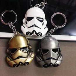 Wholesale 3 colors Star Wars Keychain cm StormTrooper Helmet storm trooper pendant Key chain ring Darth Vader Mask superhero Keyring