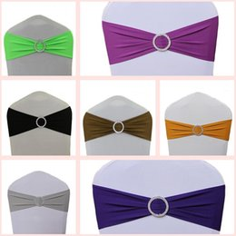 Wholesale Hot Sale Spandex Bands Lycra Band Chair Covers Sash With Crystal Round Buckle For Wedding Banquet