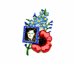 """3.2"""" Rhodium Silver Plated Rhinestone Crystal Diamante Forget Me Not and Red Poppy Flower Large Brooch with Photo Frame"""