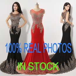 Wholesale 2015 Real Image Sheer Neck Black Red Formal Evening Prom Dresses Appliques Celebrity Pageant Wedding Party Gowns Arabic Top Quality