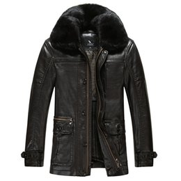 Wholesale Fall News Brand leather jackets mens fur coat Imitation sheepskin coats leather pilot jacket Fur collar