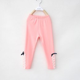Wholesale Children Pants For The New Autumn Han Edition Girls Lace Leggings Children In The Cotton Bowknot Pants Kids Clothing CD60