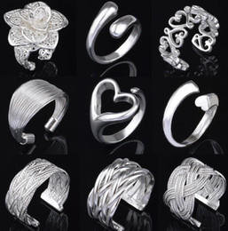 Wholesale 9 style silver rings Charming Women girls finger rings Multi Styles Rings open size RX