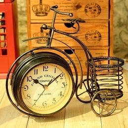 Wholesale Creative Double Face Cast Metal Desk Clock Art Clock Bicycle Replica Model For Sitting Room Home Decor